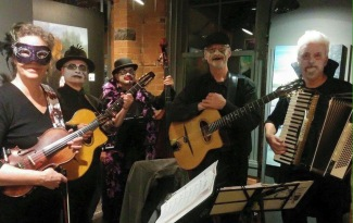 The Kitchen Gypsies play a Halloween opening of a Solo Show by artist Margaret Sutherland. Photo by Maggie Sutherland